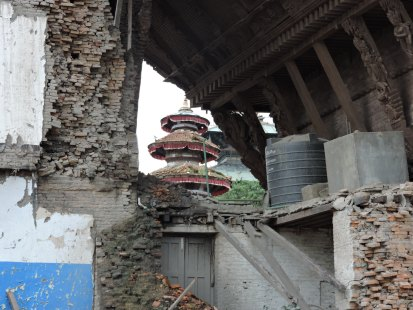 Durbar Square, Kathmandu, a huge hole in the old palace, then museum