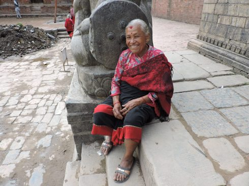 granny resting from a visit to the temple (i call her granny but she is younger than me)