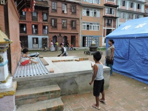 Improvising ping pong in Patan
