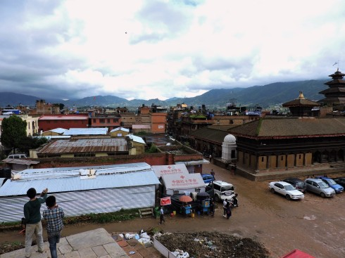 Flying kites over Bhaktapur